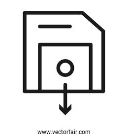 diskette with download arrow icon, line style