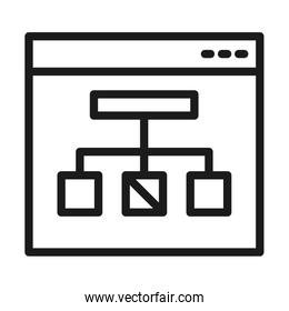 web page with conceptual map icon, line style