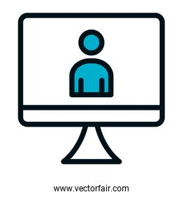 computer with pictogram man on screen icon, half color half line style