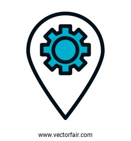 Seo and marketing online concept, location pin with gear wheel icon, half color half line style