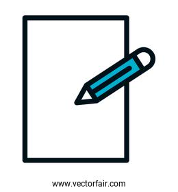 blank paper and pencil, line style icon