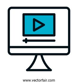 computer with video player on screen icon, half color half line style