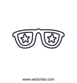 Glasses with stars line style icon vector design