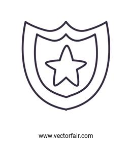 Usa shield with star line style icon vector design