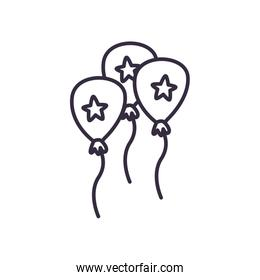 Balloons with stars line style icon vector design