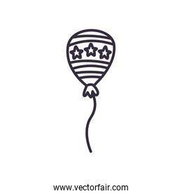 Balloon with stars line style icon vector design