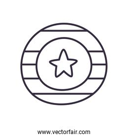 Usa seal stamp with star line style icon vector design