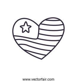 Usa flag heart line style icon vector design