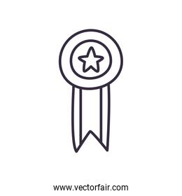 Medal with star and ribbon line style icon vector design