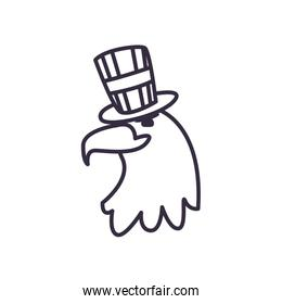 Eagle with usa hat line style icon vector design