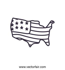 Usa flag map line style icon vector design