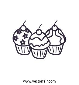 Sweet cupcakes line style icon vector design