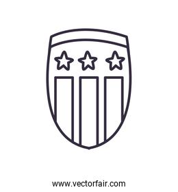 Usa shield with stars line style icon vector design