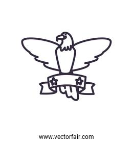 Eagle and ribbon with stars line style icon vector design