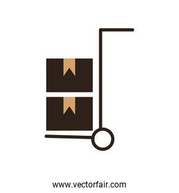 Boxes over cart flat style vector illustration