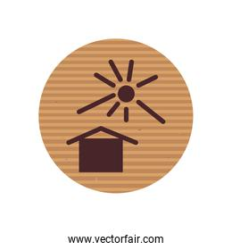 Isolated house and sun line style icon vector design