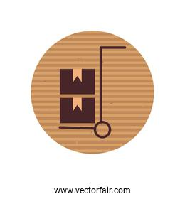 Boxes over cart line style icon vector design