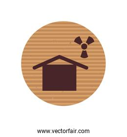 House and biohazard line style icon vector design