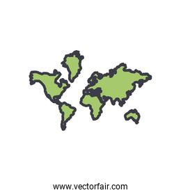 Isolated world map flat style icon vector design