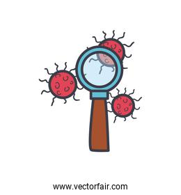 Covid 19 virus and lupe flat style icon vector design