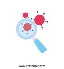Lupe with covid 19 virus flat style icon vector illustration