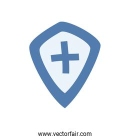 Cross inside shield flat style icon vector design