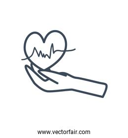 Heart pulse over hand line style icon vector design