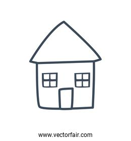 House with windows and door line style icon vector design