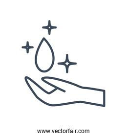 Water drop over hand line style icon vector design