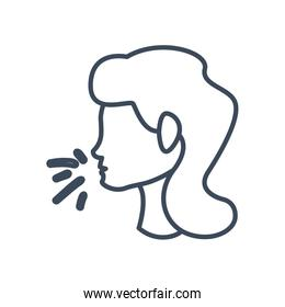Woman head with dry cough line style icon vector design