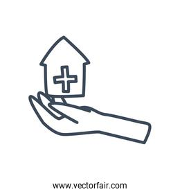 Cross inside house over hand line style icon vector design