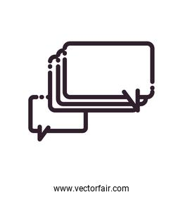 Rectangles communication bubbles line style icon vector design