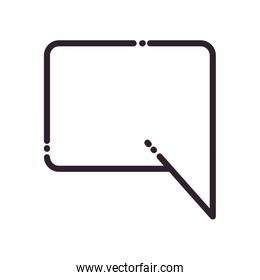 Rectangle communication bubble line style icon vector design