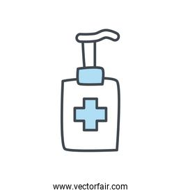 Soap dispenser with cross flat style icon vector design