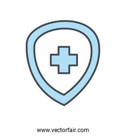Medical cross inside shield flat style icon vector design