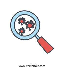 Covid 19 virus inside lupe flat style icon vector design