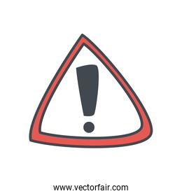Exclamation mark inside warning triangle flat style icon vector design