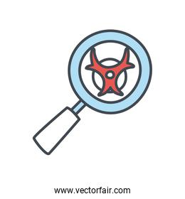 Biohazard inside lupe flat style icon vector design