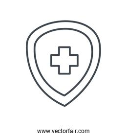 Medical cross inside shield line style icon vector design