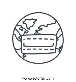 World with medical mask line style icon vector design