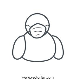Avatar with medical mask line style icon vector design