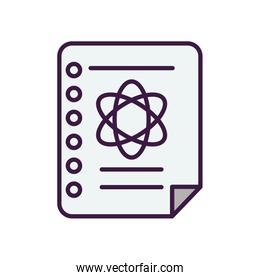 notebook page with chemical atom icon, line color style