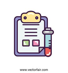 medical analysis report icon, line color style
