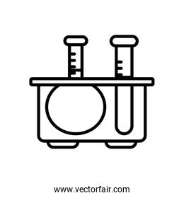 stand with chemical flasks icon, line style