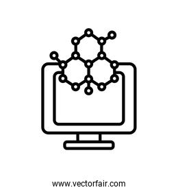 monitor with chemical bonds icon, line style