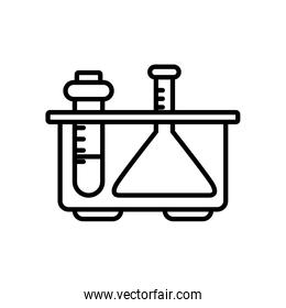chemical flask and test tube on stand icon, line style