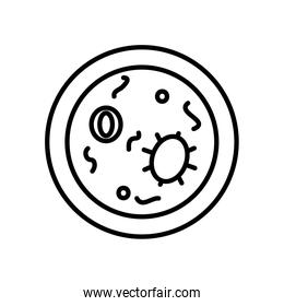 petri dish with bacterias icon, line style