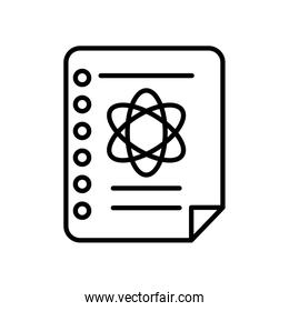 notebook page with chemical atom icon, line style