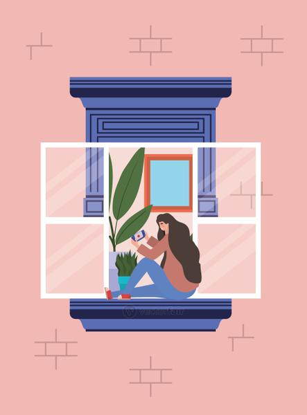 Woman with smartphone at window of pink building vector design