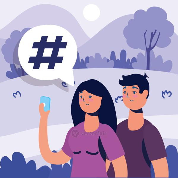 couple technology with smartphone characters